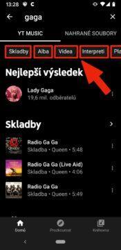 přejít ze Spotify na YouTube Music - youtube music filtry vyhledavani