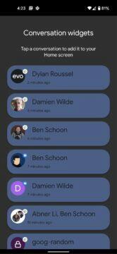 Android 12 chatovací widgety výběr
