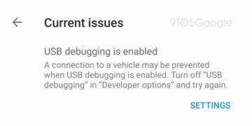 Android Auto ladění USB - upozornění