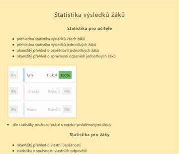 česká aplikace pro online výuku VímTo statistika výsledků