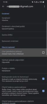 Chat v aplikaci Gmail zapnutí