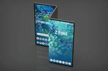 dvojitě ohebný Samsung tablet render