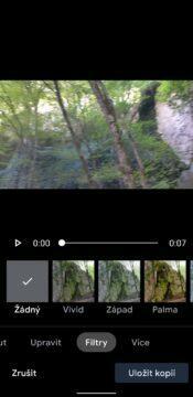 Google Fotky nový video editor - filtry