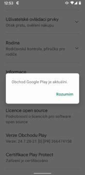 Google Play aktualizace