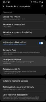 Jak v Samsung mobilu skrýt soubory Zabezpečená složka nastavení biometrika a zabezpečení