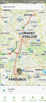 Mapy.cz železniční tratě trať