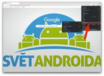 Google Chrome klávesové zkratky rozšíření - menu dalši nastroje