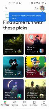 Obchod Play notifikační animace novinka