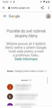 Triky v Google Play - pozvanky do rodine skupiny