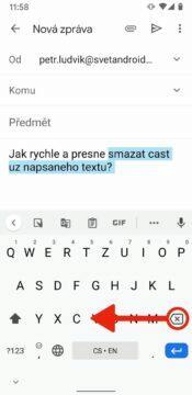 rychle mazani textu