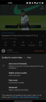 YouTube aplikace nové možnosti kvality ukázka