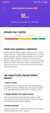 aplikace Mi Fit kvalita dýchání ve spánku