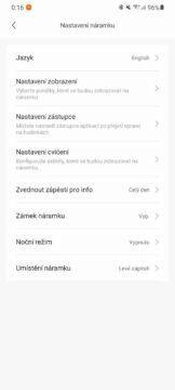 aplikace Mi Fit nastavení náramku