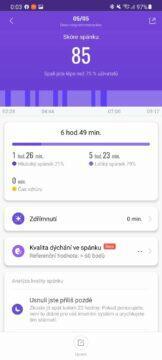 aplikace Mi Fit skóre spánku
