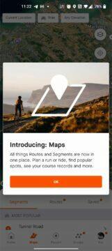 aplikace Strava nový vzhled Maps
