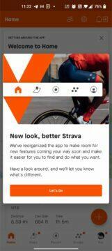 aplikace Strava nový vzhled okno