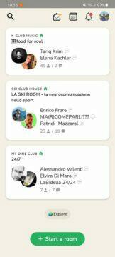 Clubhouse Android funkce hlavní stránka