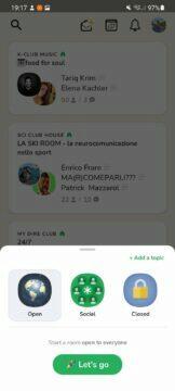 Clubhouse Android funkce zahájení room