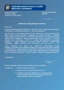 ČTÚ brožura rychlost internetu 6 vzor reklamace