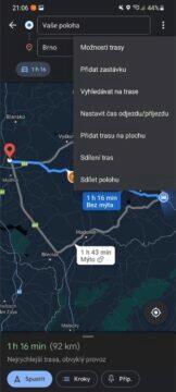 Jak se v Google Mapách vyhnout dálnicím trasa menu