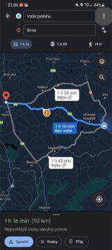 Jak se v Google Mapách vyhnout dálnicím trasa náhled