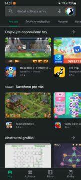 Obchod Play beta předběžný přístup 1 hry hlavní karta