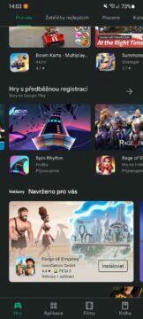 Obchod Play beta předběžný přístup 2 sekce