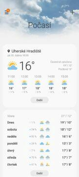 Samsung Galaxy A72 počasí