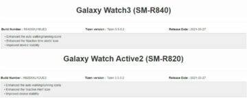 update pro Galaxy Watch3 a Watch Active2 changelog