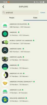 vyhledávání Android