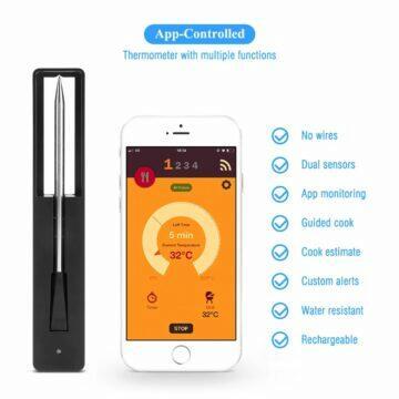Zasunovací chytrý teploměr na pečení grilování aplikace