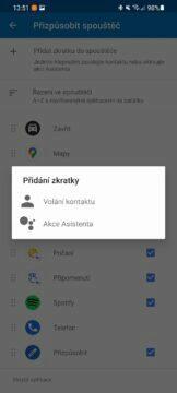 Android Auto přehlednější zástupce aplikací Zkratky