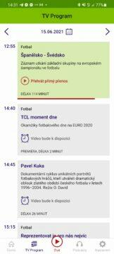 Aplikace ČT sport me ve fotbale euro program