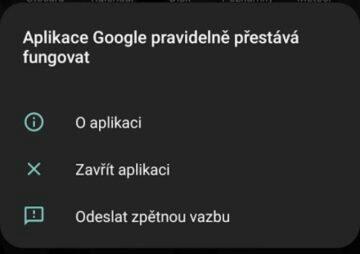 Aplikace Google pravidelně přestává fungovat screenshot