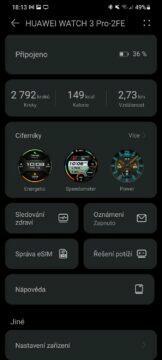 aplikace Huawei Zdraví 9 nastavení karty
