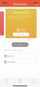 Aplikace Oclean vyber typu cisteni
