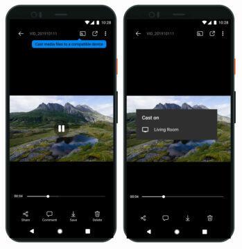 Aplikace OneDrive na Android cloud google Fotky úprava fotek Google Chromecast. sdílení na televizi