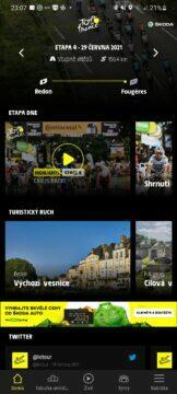 Aplikace Tour de France 2021 by Škoda cyklistika obrazovka domů