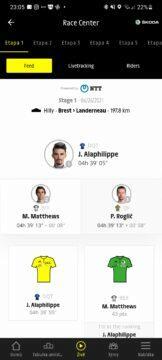 Aplikace Tour de France 2021 by Škoda cyklistika záložka živě