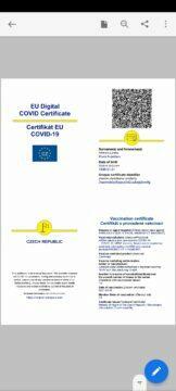 certifikát o očkování covid-19 koronavirus certifikát o očkování v mobilu aplikace Adobe Acrobat Reader pdf certifikát o očkování