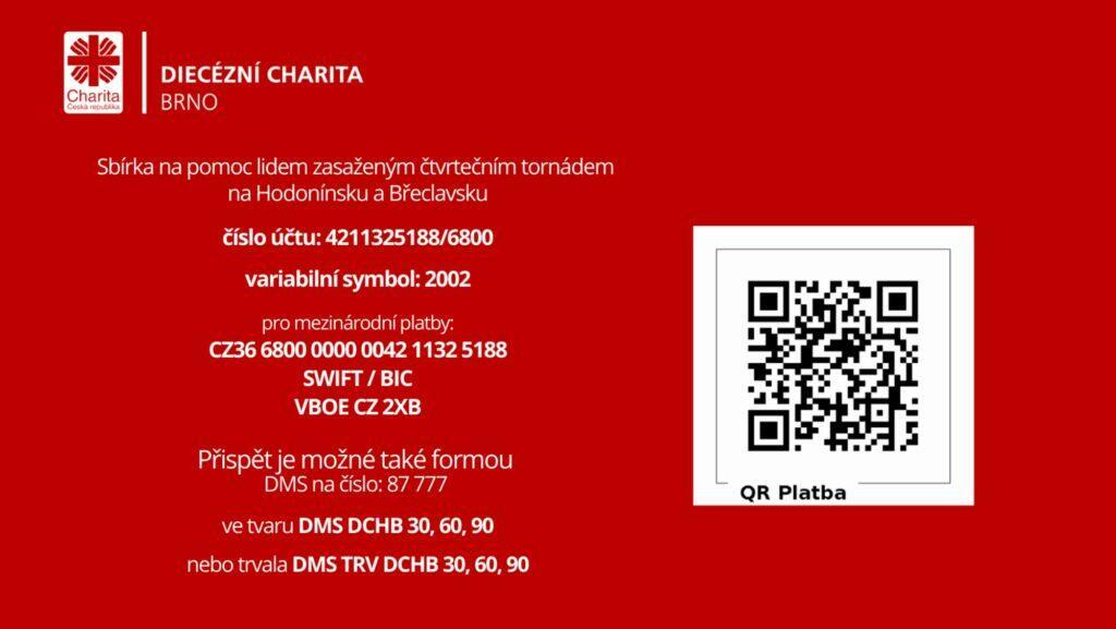 Diecezni charita Brno QR sbirka tornado ucet