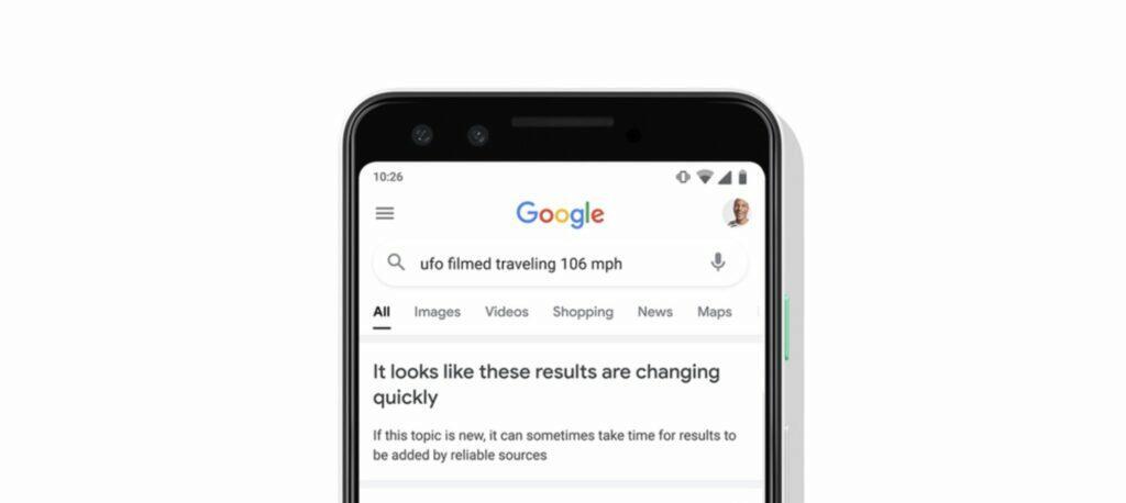 Google vyhledávání neověřené výsledky screen