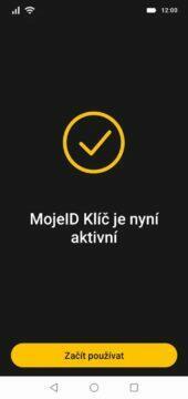MojeID aplikace Klíč aktivováno