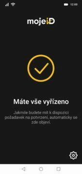 MojeID aplikace Klíč hotovo