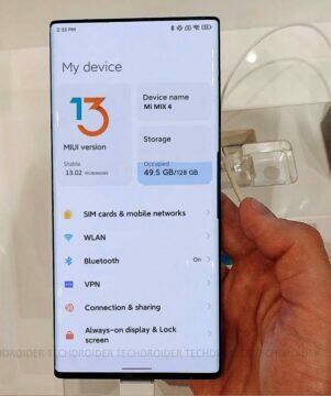 Real photos of Xiaomi Mi Mix 4 miui 13 camera under display settings