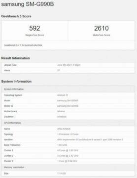 Samsung Galaxy S21 FE spatřen v Geekbench