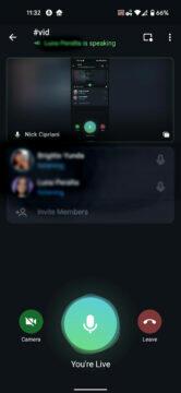 Telegram aplikace nové funkce sdílení obrazovky