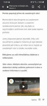 tornádo jižní Morava pomoc sbírky Darujme.cz 3 popis