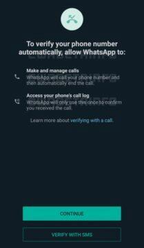 WhatsApp automatické ověřovací hovory povolení
