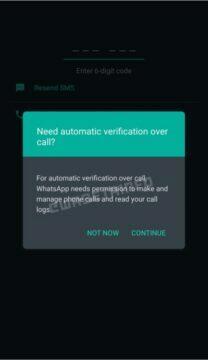 WhatsApp automatické ověřovací hovory povolení novinka